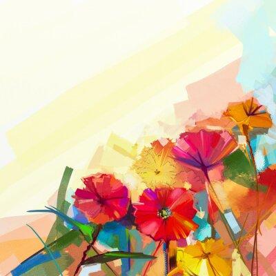 Obraz Abstraktní olejomalba jarních květin. Zátiší z žluté a červené gerbera květina. Barevné kytice květy se světle zeleno-modré barvy pozadí. Ručně malované květinové moderní impresionistický styl
