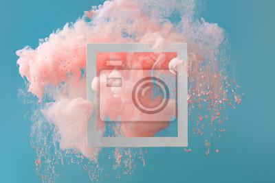 Obraz Abstraktní pastelově růžové barvy s pastelově modrým pozadím .. Tekuté složení s kopií vesmíru. Minimální přírodní luxus.
