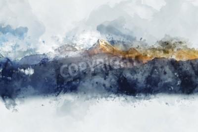 Obraz Abstraktní pohoří v ranním světle, digitální akvarel