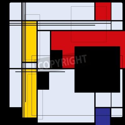 Obraz Abstraktní pozadí ve stylu kubismu, červená, modrá, žlutá čtverce