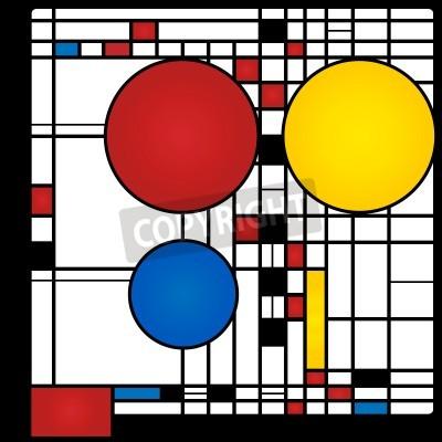 Obraz Abstraktní pozadí ve stylu kubismu, červené, modré, žluté čtverce a kola