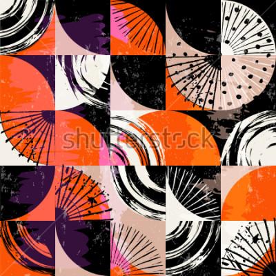 Obraz Abstraktní pozadí vzor, s kruhy, tečky, čtverce, tahy a stříkající