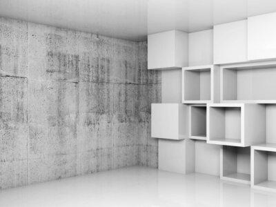 Obraz Abstraktní prázdné interiér pozadí s bílými kostkami