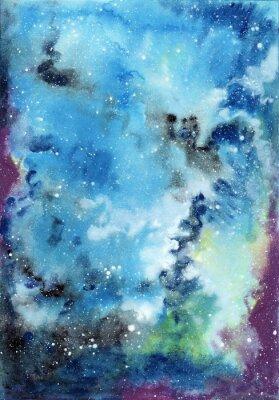 Obraz Abstraktní prostor akvarel pozadí s hvězdnou oblohou a oblaky plynu