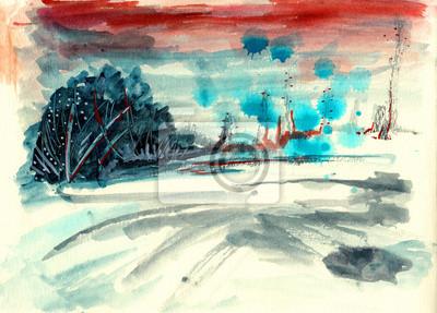 abstraktní ruku kreslení barvy krajina