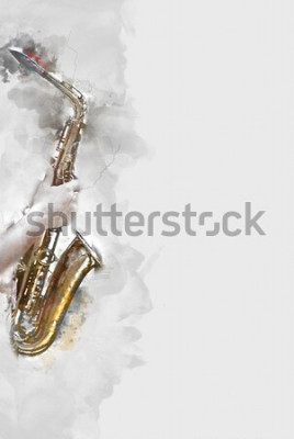 Obraz Abstraktní saxofon v popředí. Zblízka, akvarel malování jazz hraje na saxofon.
