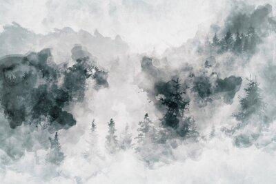 Obraz Abstraktní umělecké dílo znázorňující tmavý les s březovými stromy. Smíšená média
