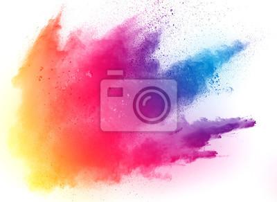 Obraz abstraktní vícebarevný prášek na bílém pozadí, Freeze pohybu barevné prášku exploduje