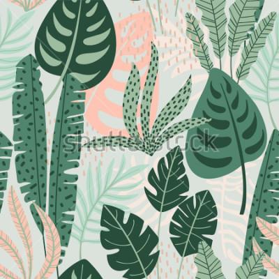 Obraz Abstraktní vzor bezešvé s tropické listy. Ruční kreslení textury. Vektorové šablona.