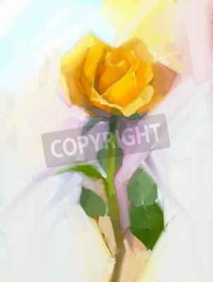 Obraz Abstraktní žlutá růžová květina se zeleným listovým olejomalba. Ručně malované květinové v měkké barvě a rozmazané styl pozadí