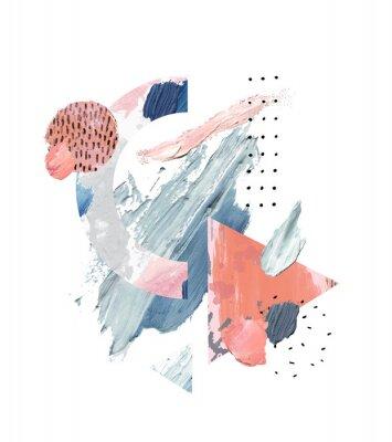 Obraz Acrylic, oil paint rough smears, blots, texture, watercolor art