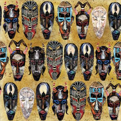Obraz africké masky bezešvé vzor. ručně tažené etnické kmenové totem pozadí