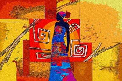 Obraz africké motivy etnické retro vinobraní