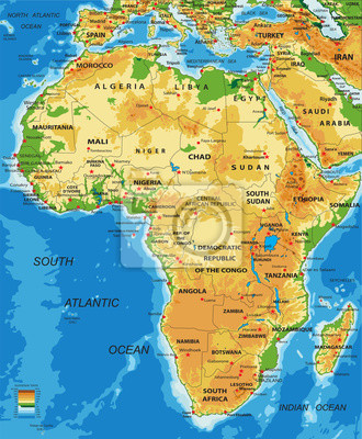 Afrika-fyzikální mapa