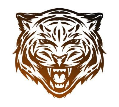 Obraz Agresivní tygr tvář. Perokresby styl.