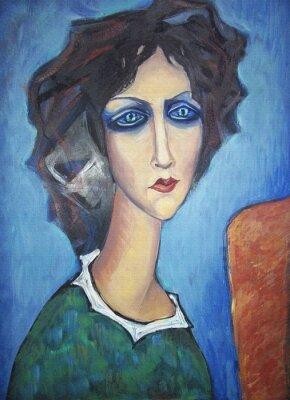 Obraz Akryl barevný obraz. Canvas. Portrét dlouhým krkem blue-eyed žena v zelených šatech s bílým límcem na stojanu na modrém pozadí. Vnitřní dekor.