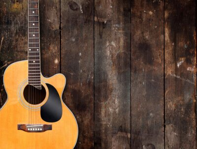 Obraz Akustická kytara na rustikální pozadí
