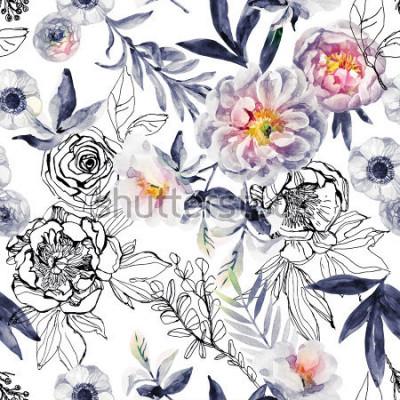 Obraz Akvarel a inkoust doodle květiny, listy, plevel bezešvé vzor. Ručně malované, tažené květinové pozadí s pivoňky, sasanky, ranunculus, pes růže větev, luční byliny