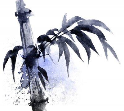 Obraz Akvarel a inkoust ilustrace bambusu s barevnými vodními květy. Orientální tradiční malba ve stylu sumi-e, u-sin. Umělecké ilustrace.