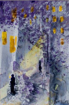 Obraz Akvarel abstraktní městské krajině