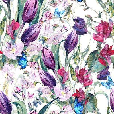 Obraz Akvarel bezešvé pozadí s Sladké Hrách, tulipány