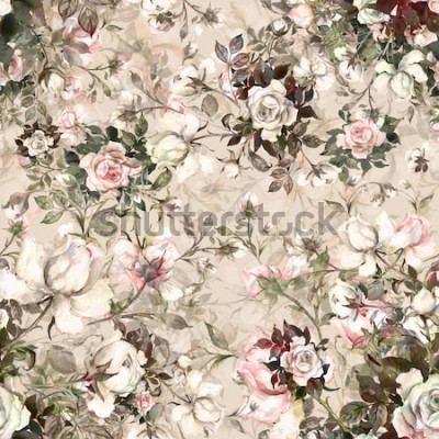 Obraz Akvarel bezešvé vzor kytice růží v zárodku Y. Krásný vzor pro dekorace a design. Módní tisk. Vynikající vzor akvarel náčrtky květiny. Tónovaný.