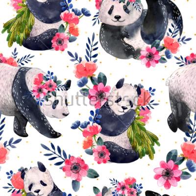 Obraz Akvarel bezešvé vzor s pandy a květiny izolovaných na bílém pozadí. Zlaté hvězdy na pozadí. Akvarel ilustrace.