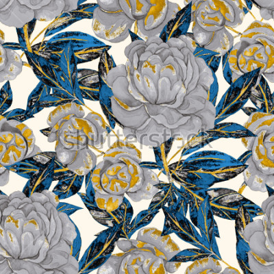 Obraz Akvarel bezešvé vzor s pivoňky. Květinový design. Romantické svatební pozadí. Světlé letní bezešvé vzor. Botanická tapeta.