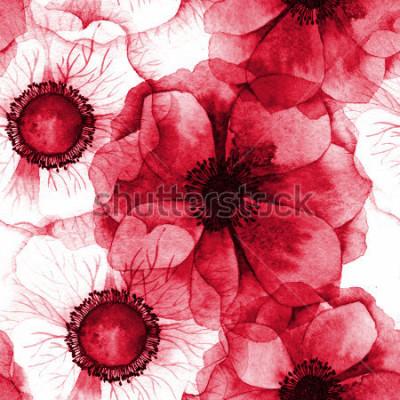 Obraz Akvarel bezešvé vzor se sasanky. Rastrová textura pro banner, pozvánky nebo jiný design.