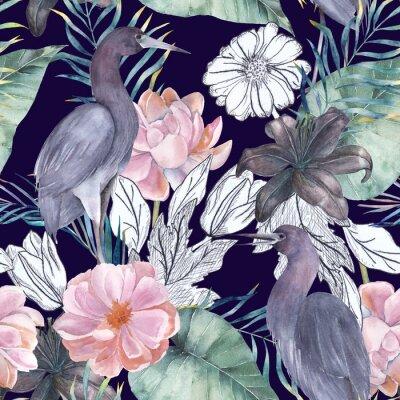 Obraz Akvarel bezproblémový vzor s inkoustovými prvky. Exotické ptáky a květiny. Ručně kreslená ilustrace