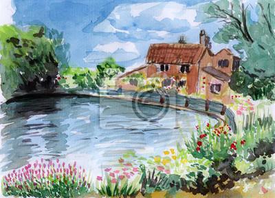 akvarel břeh řeky dům