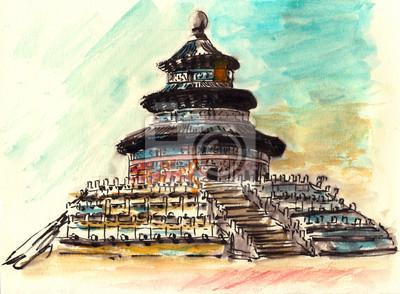 akvarel Čína Peking Tiantan