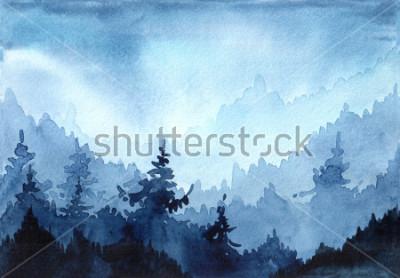 Obraz Akvarel dětské obrázky se zimní les. Zimní krajina s vánoční stromky. vánoční pozdrav