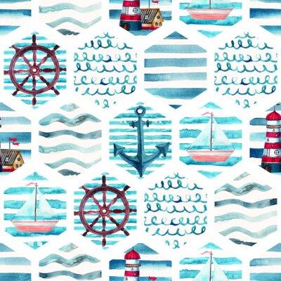 Obraz Akvarel dobrodružství bezešvé vzorek v patchwork mořském stylu.