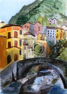 akvarel dům a most