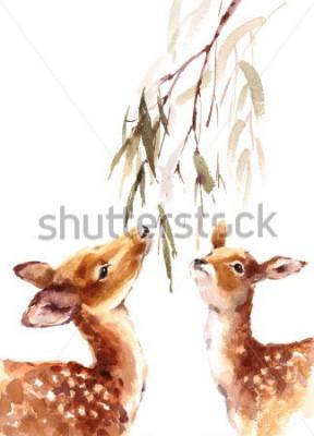 Obraz Akvarel dva jeleny při pohledu na Brunch s Listy ručně malované Ilustrace izolované na bílém pozadí