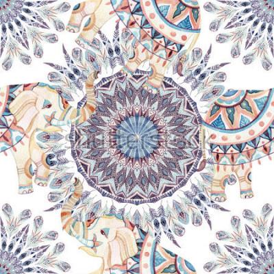 Obraz Akvarel etnický slon na pera mandala pozadí. Abstraktní peří mandaly bezešvé vzor s ozdobnými indickými sloni na bílém pozadí. Ručně malovaná ilustrace pro boho, kmenový design