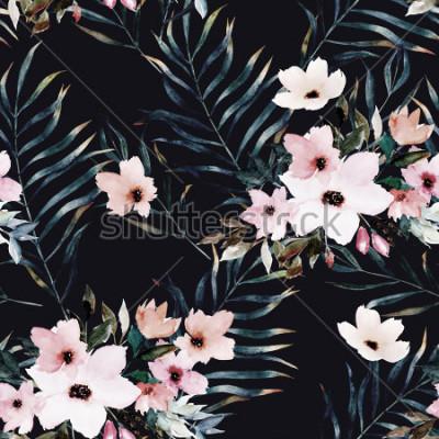 Obraz Akvarel exotické bezešvé vzor, zelené tropické listy, květiny, botanické letní ilustrace na černém pozadí