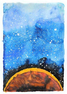 Obraz Akvarel galaxie ilustrační. Planeta Mars.