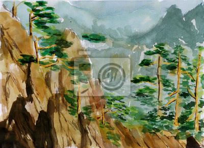 akvarel Huangshan skica