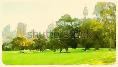 Obraz akvarel ilustrace sydney centrální park