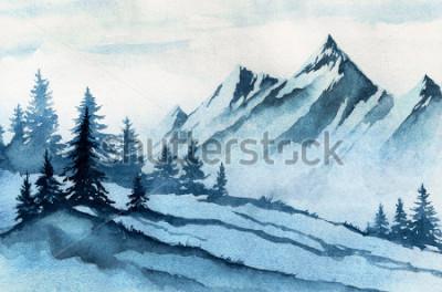 Obraz Akvarel ilustrace. Zimní hory krajina, stromy, nebe.