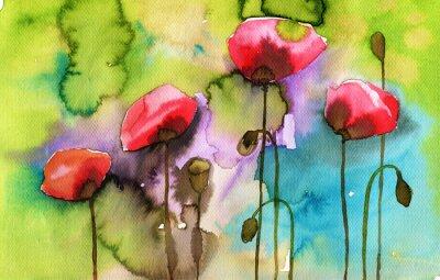 Obraz akvarel ilustrace zobrazující jarní květiny na louce