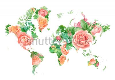 Obraz Akvarel ilustrační mapa světa v květinách. Šablona pro kutily, svatební pozvánky, blahopřání, plakáty, blogy, webové stránky