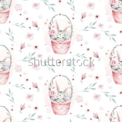 Obraz Akvarel jarní ilustrace roztomilý velikonoční zajíček. Králík kreslený zvířecí vzor bezešvé s košíkem