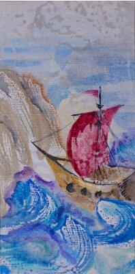 Obraz Akvarel krajina s lodí plujících v rozbouřeném moři na lan