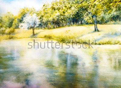 Obraz Akvarel krajiny. Letní park. Příroda. Akvarel botanické ilustrace. Krajina s jezerem. Pobřeží