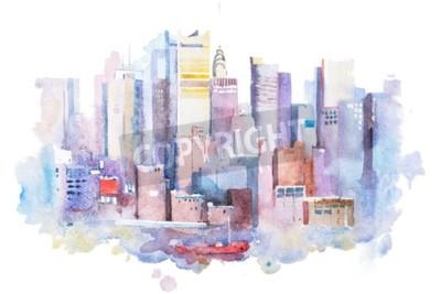 Obraz akvarel kresba New York panoráma, USA. Manhattan akvarel malování.