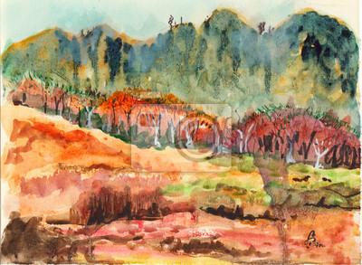 akvarel les