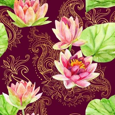 Obraz akvarel lotosový květ na zlatou ozdobou. bezešvé vzor